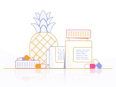 Vitamins & Fruit bottle cap reflection pineapple bottle pills vitamins loop gif colours motion flatdesign colour 2d design flat animation vector