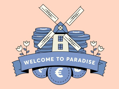 Welcome to Paradise coin euro mill money banner rose flower coins windmill loop gif colours motion flatdesign colour 2d design flat animation vector