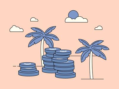 Tax Heaven coins beach sun clouds tree palm leaves palm money tax loop gif colours motion flatdesign colour 2d design flat animation vector
