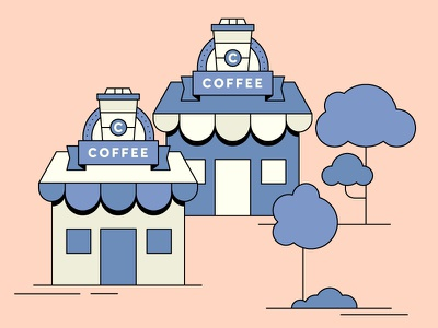 Coffee shops banner store building sign signing tree shops shop coffee loop gif colours motion flatdesign colour 2d design flat animation vector