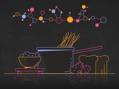 Carbs food reflection spagetti pan potatoes rice bread molecules pasta loop gif colours motion flatdesign colour 2d design flat animation vector