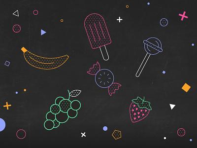 Sugar lollipop candy strawberry grapes banana sugar loop gif colours motion flatdesign colour 2d design flat animation vector