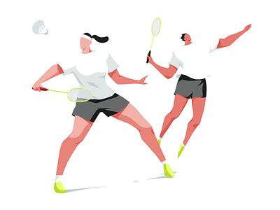 人物运动造型插画-羽毛球运动 badminton