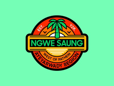 Ngwe Saung myanmar graphic design illustration mmbadgedesign badge design