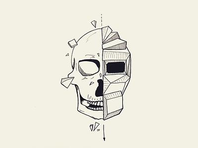 Shattered black and white sketch inking tattoo ink inktober skull geometric shattered