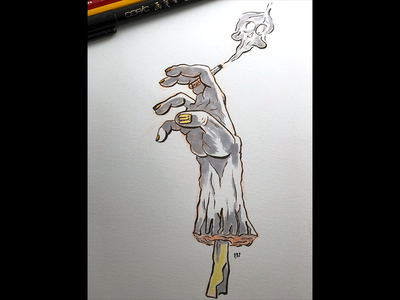 The Smoking Dead comic inktober sketch ink marker illustration drawing hand zombie dead smoking
