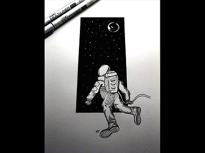 Deep Space story comic inktober paper pen illustration ink sketch drawing astronaut space deep