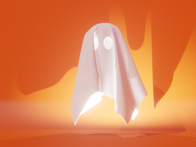 Boo! lowpoly character cute illustration blender 3d