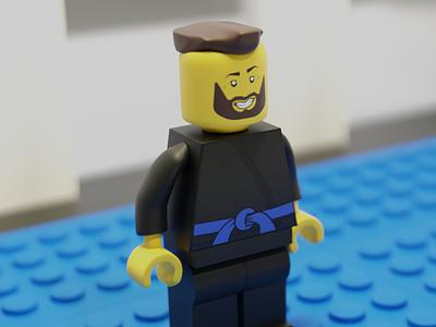 Lego BJJ Minifig illustration modeling minifig jiu-jitsu bjj lowpoly blender 3d lego