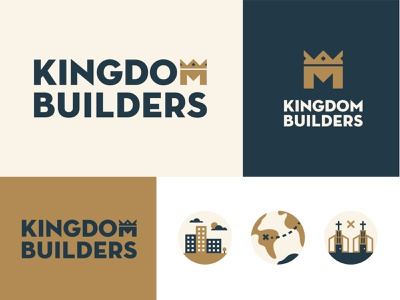 Kingdom Builders city branding minimal multiply church world city king icon wordmark logo crown logotype builders kingdom