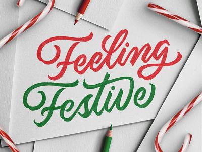Feeling Festive candycane festive christmas holiday type procreate lettering ipadlettering handtype handlettering