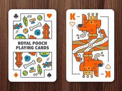 Royal Pooches poker dog king bone suicideking kingofhearts canine pets illustration cards playing cards