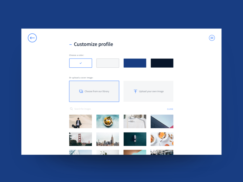 Customize profile customize image library forms subscription selections search selection upload gallery profile settings blue ux minimal design ui