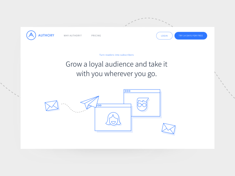 Authory Email Subscribers website banner clean minimal flat vector profile design subscribe hero subsciption page website browser paperplane envelope blue branding icon ui illustration