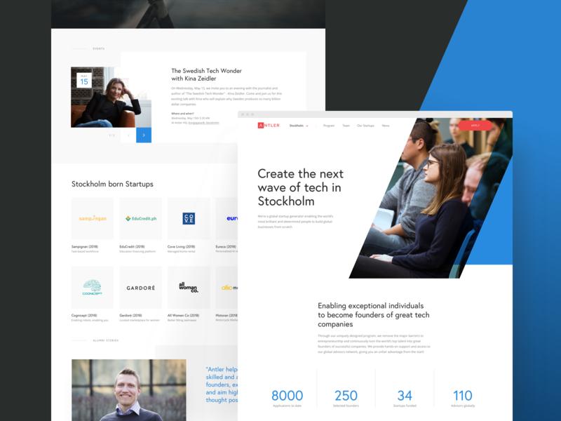 Antler website web design editorial grid layout web ux ui identity blue design angle website