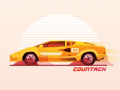 Lamborghini Countach race orange yellow designer graphic design design automobiles automotive car lamborghini