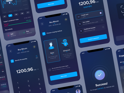 CryptoTrade App - Buying Process crypto wallet crypto crypto exchange crypto currency process dark ui dark mode dark app glass effect glassmorphism figma design clean ui