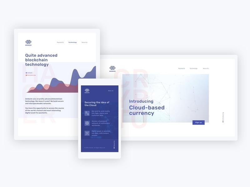 Unibank responsive blockchain responsive template blue data visulization bank finance crypto