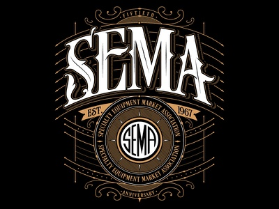 SEMA SHOW merch custom lettering jared mirabile sweyda sema shirt sema design sema show sema