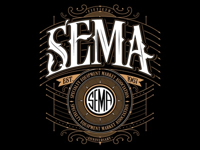 SEMA SHOW merch custom lettering jared mirabile sweyda sema shirt sema design sema show sema
