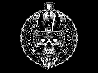 Custom illustration jared mirabile sweyda skull beard king illustration skull illustration skull vector illustration rebels ride