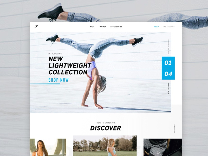 Gymshark Concept 01 simple ui webdesign retail shop ecommerce blue website fitness gym