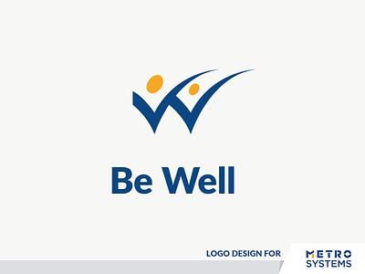 Logo Be Well dalex dragos alexandru dragos metro systems metro yellow blue well be well wellbeing health people logo w w logotype symbol digital desig logo