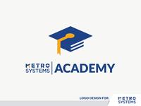 Logo METRO SYSTEMS Academy cap yellow blue study learn symbol book academy logo metro systems metro