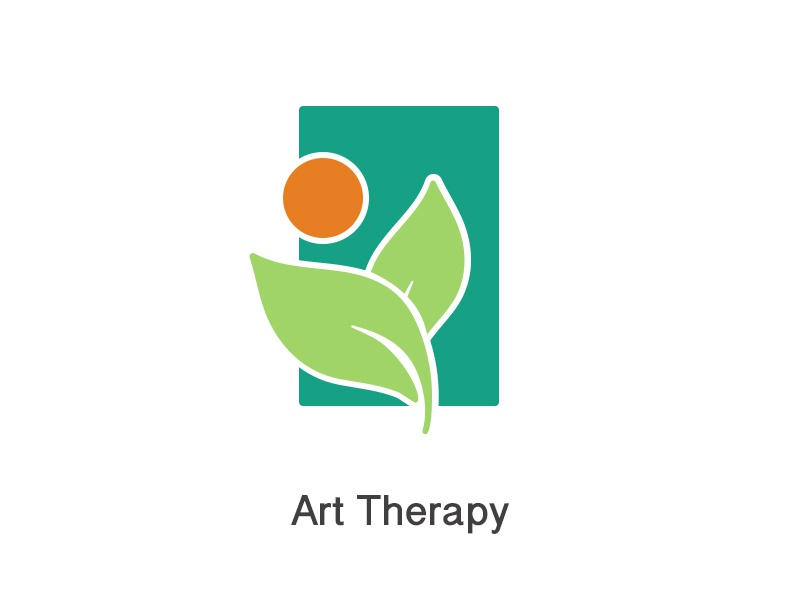 Logo Art Therapy orange plant dragos design green natural art therapy logo
