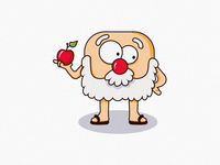 Wise Man With Apple - Character Illustration