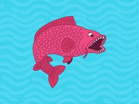 Angry Hungry Fish Illustration