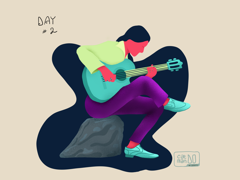 Day #2 - The Guitarist catmando dragos character draw illustration challenge design challenge illustration guitar player guitarist guitar