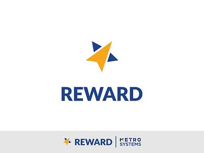 Logo Reward WIP V3 yellow blue reward win star dragos alexandru flat design metro systems logo