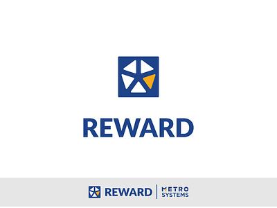 Logo Reward WIP V4 white yellow blue metro systems reward diamond dragos alexandru design logo vector illustration
