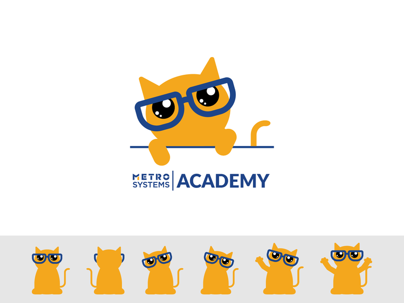 Logo Bob MetroSystems Learning Academy branding simple illustration vector academy dragos alexandru mascot glases cat metro systems design logo