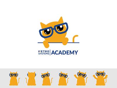 Logo Bob MetroSystems Learning Academy branding simple illustration vector academy dragos alexandru mascot glases cat metro systems design logo