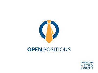 Logo Open Positions - V1 recruiting logo jobs dragos alexandru metro systems yellow tie o letter branding logotype blue simple icon illustration dragos logo