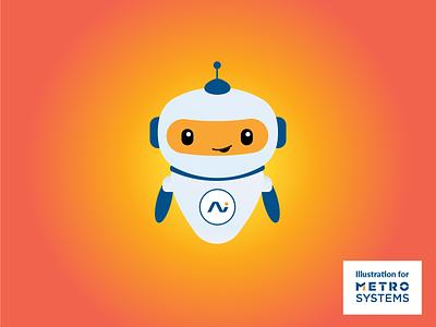 Illustration Robot V2 chatbot bot ai sense yellow robot metro systems vector ui dragos alexandru flat blue simple icon illustration dragos logo