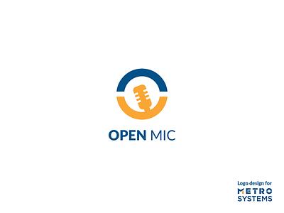 Logo OpenMic simple icon vector branding flat illustration logotype dragos alexandru yellow blue design opemic mic open logo