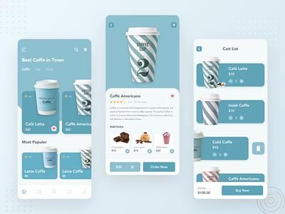 Coffee Shop Mobile App coffe order food order app design neumorphism ux design ux flat ios minimal clean ui mobile design app coffee