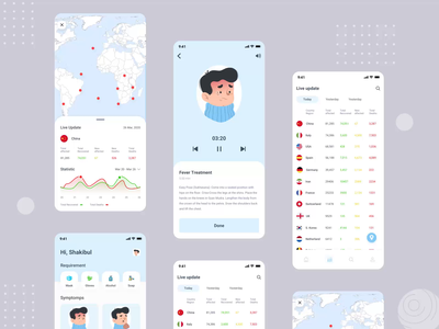 Covid 19 App interaction design app ui after effects illustrations motion animation flat ios ux design ux app design minimal ui clean coronaupdate coronavirus covid19