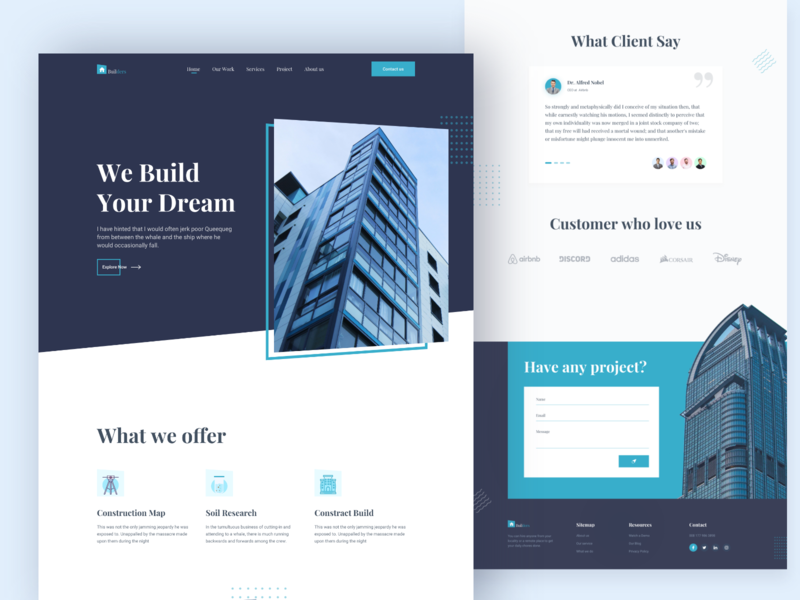 Architecture Firm - Landing Page design web landing typhography webdesign interior modernism realestate building construction landingpage achitecture architect ux design ui minimal clean