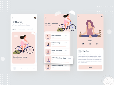 Yoga Fitness App app yoga pose mobile typhography illustration flat fitness app gym yoga ios app design ux design minimal clean ui