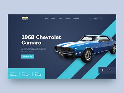 Chevrolet Camaro web ui ui design car website header landingpage car design flat minimal clean ui