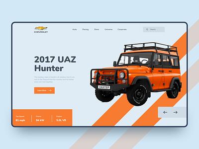 2017 UAZ Hunter header webdesign flat landing page automobile vehicle car jeep ui design ux design ux minimal clean ui 2020 trend