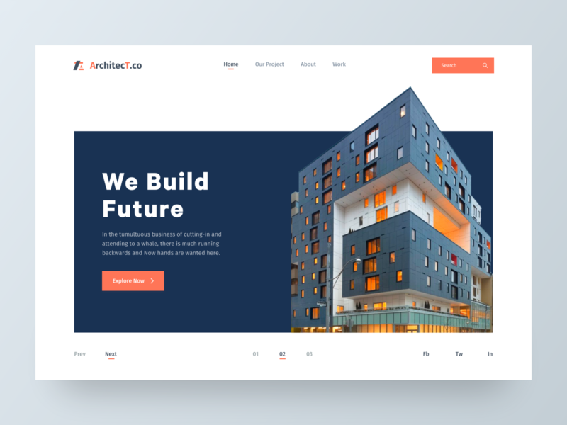 Architecture Header UI II vector ux design animation header illustration ux ui real estate minimal landing page flat construction design clean building architecture website architecture design architecture