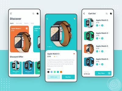 SmartWatch Shop App smart watch xiaomi asus samsung apple watch mobile ios flat app design ux minimal clean ui shop app ecommerce app app