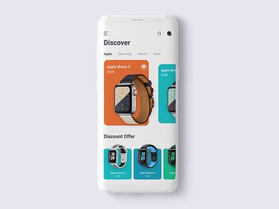 Smartwatch App Interaction flat gif apple watch apple smartwatch ecommerce app design mobile app ios app design ux minimal clean ui interaction animation