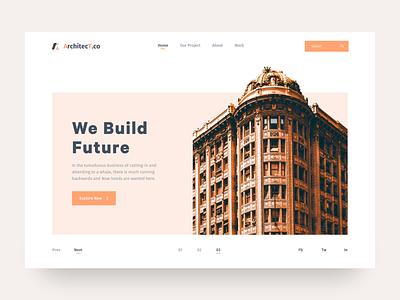 Architecture Header UI building construction realestate webdesign website landingpage firm architecture ux design flat ux minimal clean ui