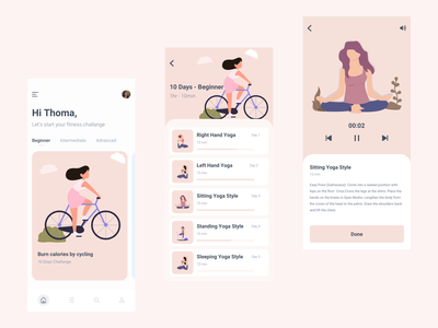 Yoga Fitness App Interaction layout app motion interaction gif animation illustration mobile ios app design flat ux minimal clean ui fitness yoga app